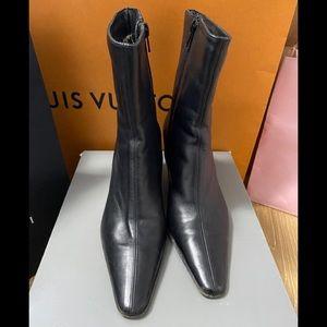 AquaItalia/Black Leather/Size 7/Worn Boots/